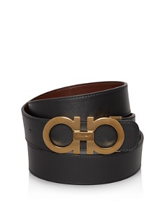Salvatore Ferragamo Smooth Reversible Belt with Shiny Goldtone Double Gancini Buckle - Bloomingdale's_0
