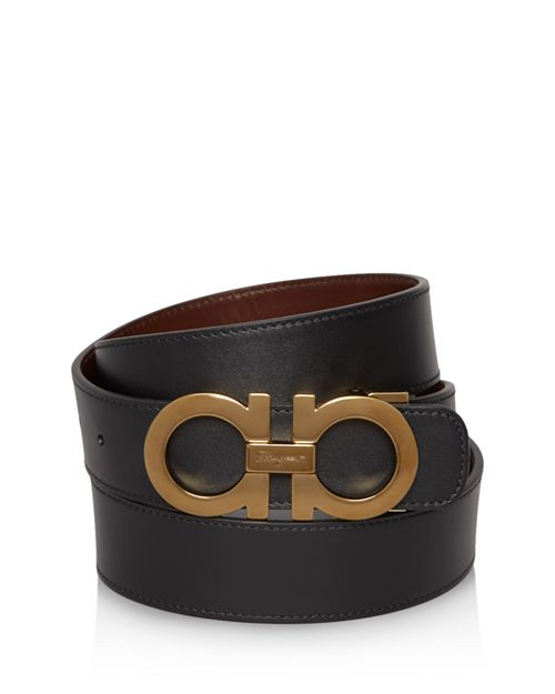 Salvatore Ferragamo - Smooth Reversible Belt with Shiny Goldtone Double Gancini Buckle