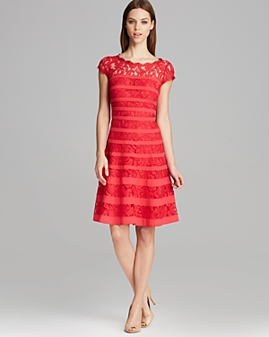 Adrianna Papell Dress - Cap Sleeve Stripe Banded Lace Fit and Flare