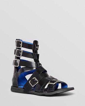 a8f1f2379b9a Jeffrey Campbell - Flat Gladiator Sandals - Daxos Buckle
