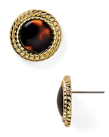Ralph Lauren - Adorned Bezel Button Stud Earrings