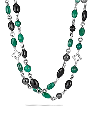 David Yurman Bead Necklace with Black Onyx & Green Onyx
