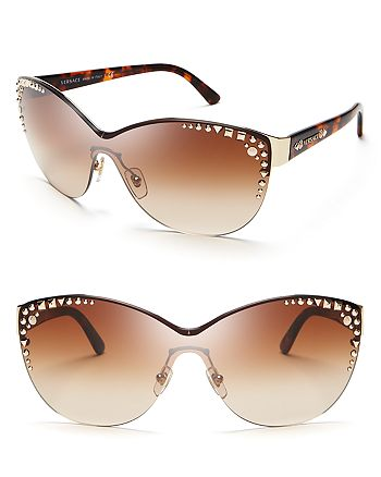 98c12b2f49 Versace Women s Studded Rimless Cat Eye Shield Sunglasses ...