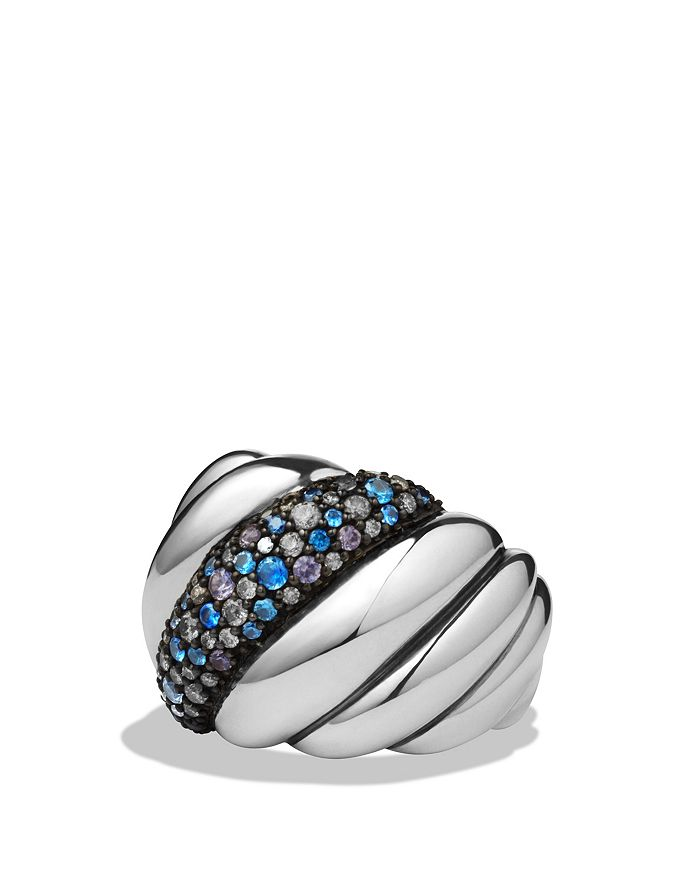 David Yurman - Hampton Cable Ring with Gray Diamonds & Blue Sapphires