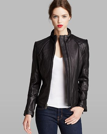 Dkny Jacket Scuba Quilted Sleeve Leather Bloomingdales