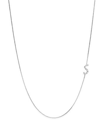 KC Designs - Diamond Side Initial S Necklace in 14K White Gold, .05 ct. t.w.