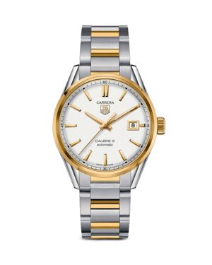 CARRERA CALIBRE 5 STAINLESS STEEL AND 18K YELLOW GOLD WATCH, 39MM