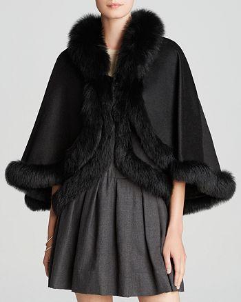 Maximilian Furs - Cashmere Double Layer Cape with Fox Fur Trim