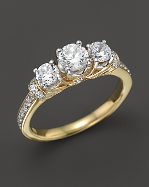 Diamond 3-Stone Ring with Pave Sides in 18K Yellow Gold, 1.0 ct. t.w. - 100% Exclusive