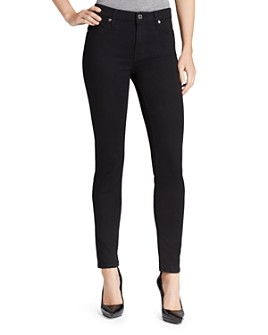 7 For All Mankind - Slim Illusion Luxe High Waist Skinny Jeans in Black