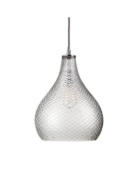 Jamie Young - Large Cut Glass Curved Pendant, Clear