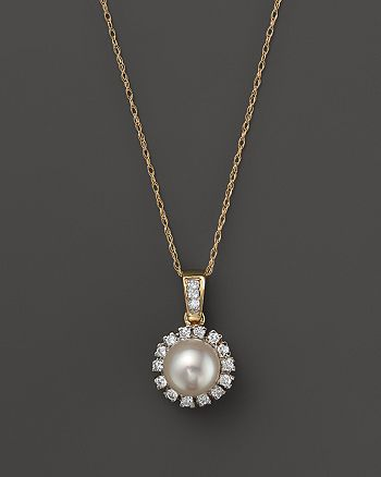 "Bloomingdale's - Cultured Freshwater Pearl and Diamond Pendant Necklace in 14K Yellow Gold, 18"" - 100% Exclusive"