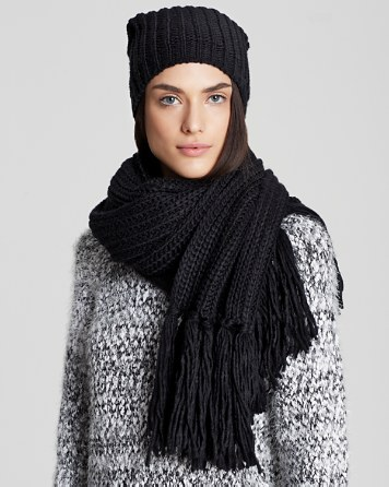 $AQUA Chunky Solid Slouchy Hat & Fringe Scarf - 100% Exclusive - Bloomingdale's