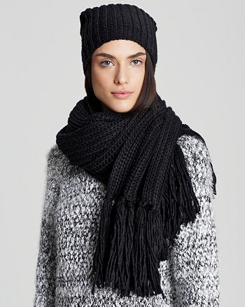 AQUA - Chunky Solid Slouchy Hat & Fringe Scarf - 100% Exclusive