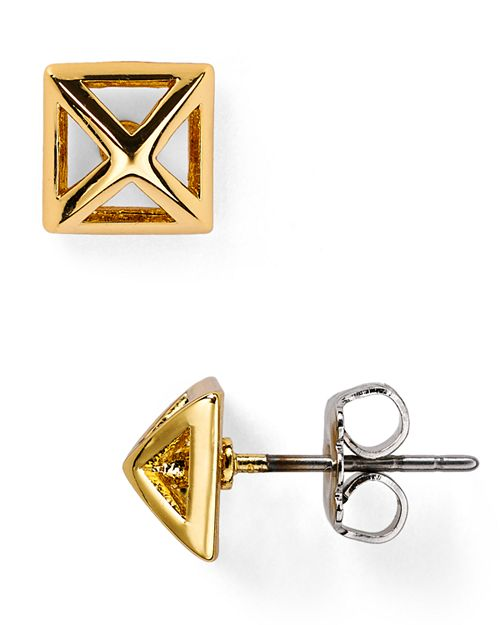 Rebecca Minkoff Pyramid Cut Out Stud Earrings