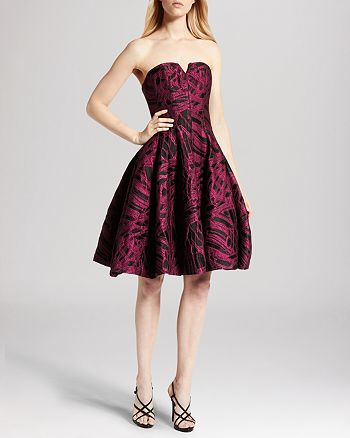 HALSTON HERITAGE - Dress - Strapless Jacquard Tulip Skirt
