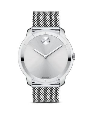 Movado Bold Stainless Steel and Silver Tone Sunray Dial Watch, 44mm