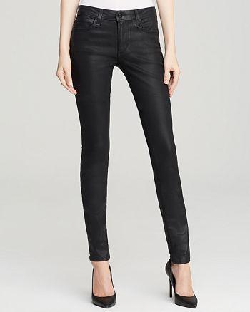 Joe's Jeans - Coated Mid Rise Skinny Jeans in Jet Black