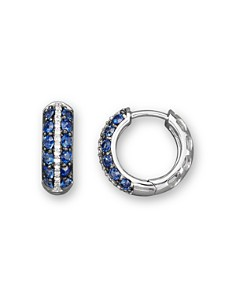 Blue Sapphire and Diamond Huggie Hoop Earrings in 14K White Gold - 100% Exclusive - Bloomingdale's_0