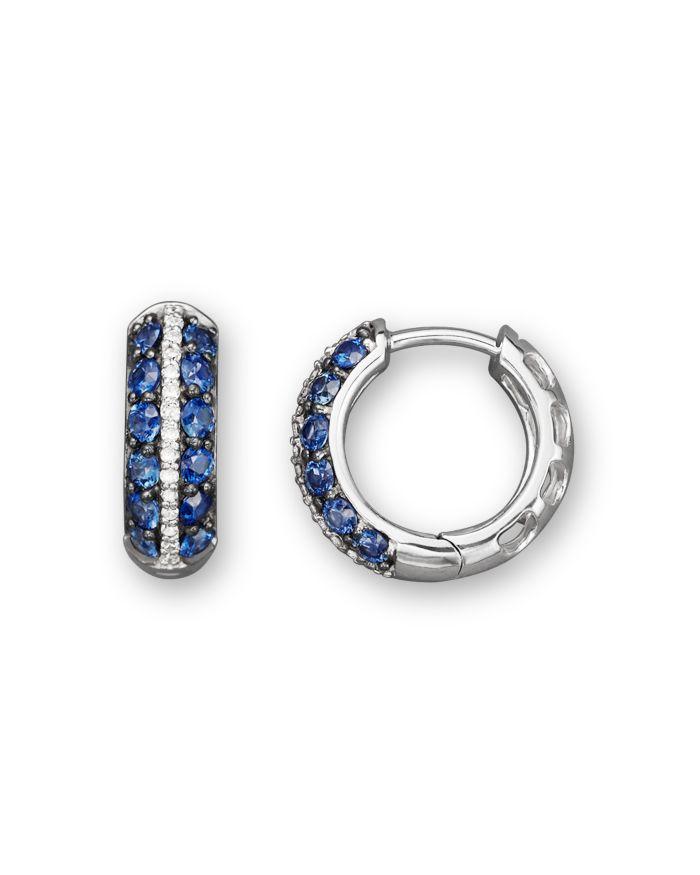 Bloomingdale's Blue Sapphire and Diamond Huggie Hoop Earrings in 14K White Gold - 100% Exclusive  | Bloomingdale's
