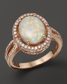 Bloomingdale's - Opal and Diamond Halo Ring in 14K Rose Gold - 100% Exclusive