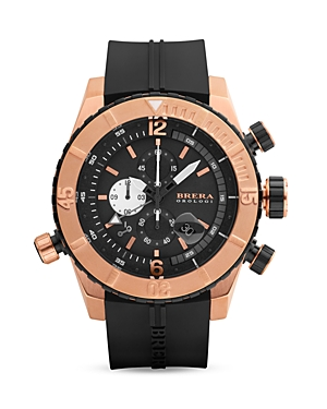 Brera Orologi Sottomarino Diver 14K Rose Gold and Black Ionic-Plated Stainless Steel Watch with Black Rubber Strap, 48mm