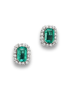 Emerald and Diamond Halo Stud Earrings in 14K White Gold - 100% Exclusive - Bloomingdale's_0
