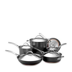 Anolon Nouvelle Copper Hard-Anodized Nonstick 11-Piece Cookware Set, Dark Gray 1157717