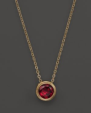Rhodolite Garnet Bezel Set Pendant Necklace in 14K Yellow Gold, 17 - 100% Exclusive