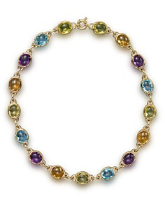 "Bloomingdale's - Amethyst, Blue Topaz, Citrine and Prasiolite Cabochon Necklace in 14K Yellow Gold, 16"" - 100% Exclusive"