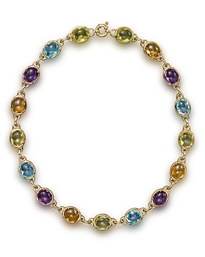 Amethyst, Blue Topaz, Citrine and Prasiolite Cabochon Necklace in 14K Yellow Gold, 16 - 100% Exclusive-Jewelry & Accessories