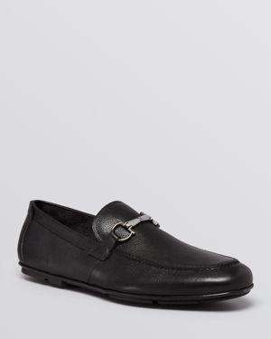 Salvatore Ferragamo Stitched Apron Toe Driving Loafers