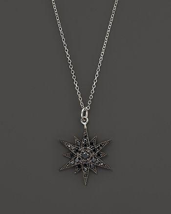 "KC Designs - Black Diamond Starburst Pendant Necklace in 14K White Gold, 18"""