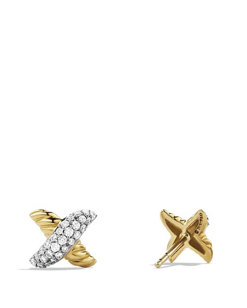 David Yurman X Earrings With Diamonds In Gold
