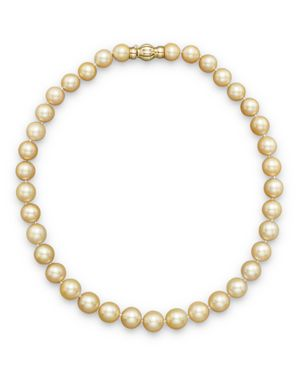 Cultured Golden South Sea Pearl Necklace in 14K Yellow Gold, 17