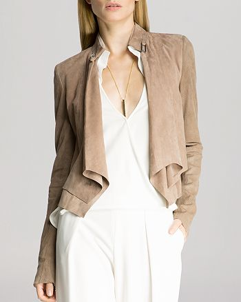 HALSTON HERITAGE - Jacket - Suede Double Layered Cropped
