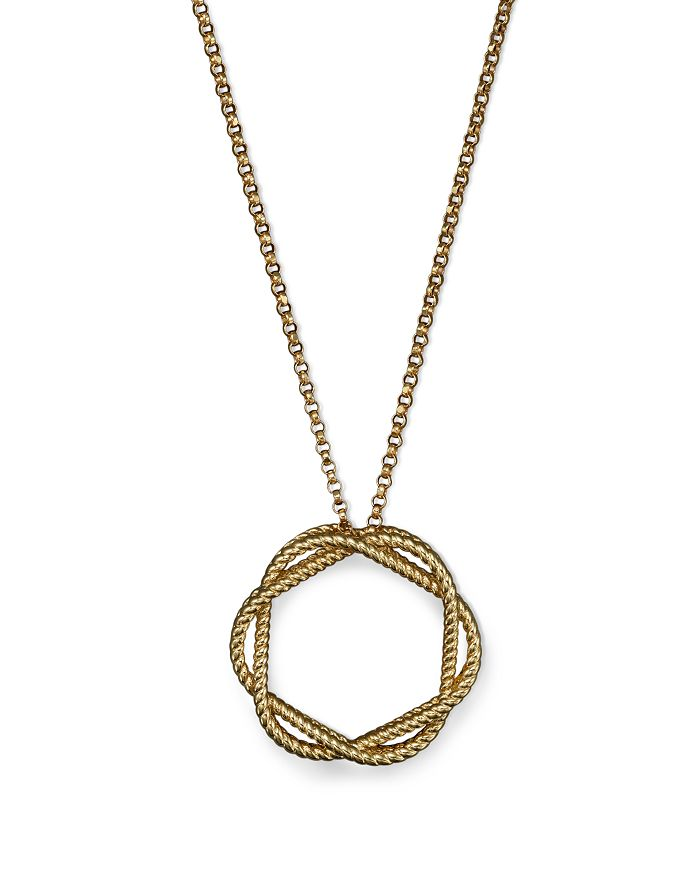 """Roberto Coin - 18K Yellow Gold Medium Twisted Circle Pendant Necklace, 16"""""""