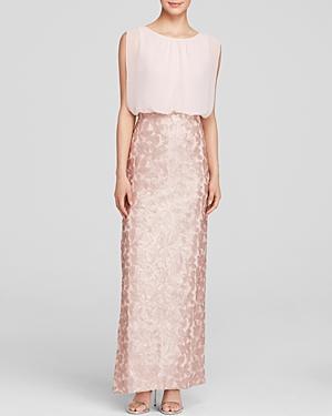 Aidan Mattox Gown - Sleeveless Blouson & Sequin Lace Skirt Column