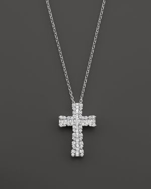 Diamond and Baguette Cross Pendant Necklace in 14K White Gold, 1.0 ct. t.w. - 100% Exclusive