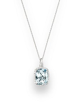 "Bloomingdale's - Aquamarine and Diamond Pendant Necklace in 14K White Gold, 18"" - 100% Exclusive"