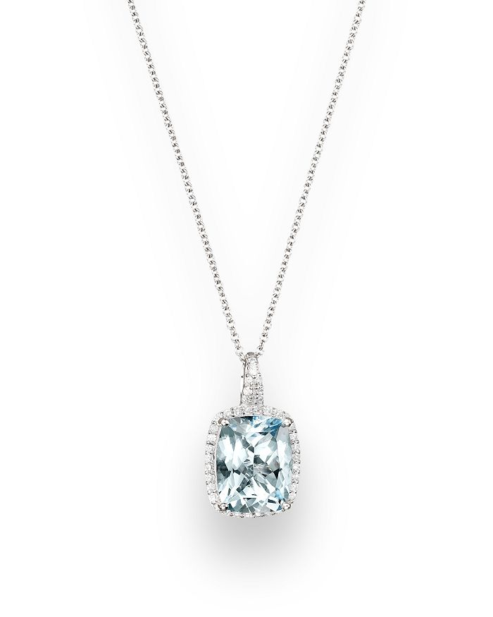 """Bloomingdale's - Aquamarine and Diamond Pendant Necklace in 14K White Gold, 18""""- 100% Exclusive"""