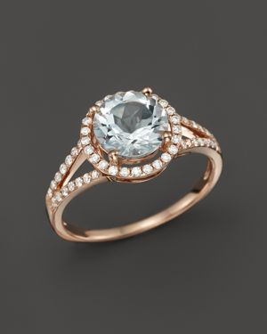 Aquamarine and Diamond Halo Ring in 14K Rose Gold - 100% Exclusive