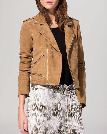 Maje - Basalta Suede Moto Jacket