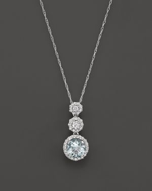 Aquamarine and Diamond Pendant Necklace in 14K White Gold, 16 - 100% Exclusive