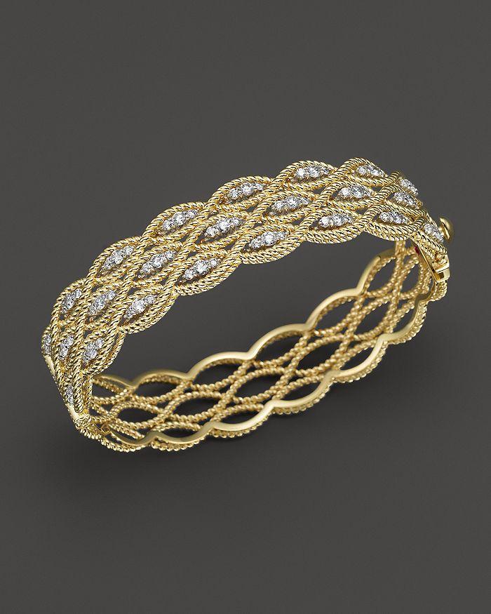 Roberto Coin - 18K Yellow and White Gold New Barocco Diamond Bangle