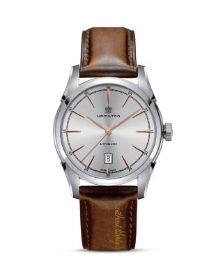 HAMILTON American Classic Automatic Leather Strap Watch, 42Mm in Brown/ Silver