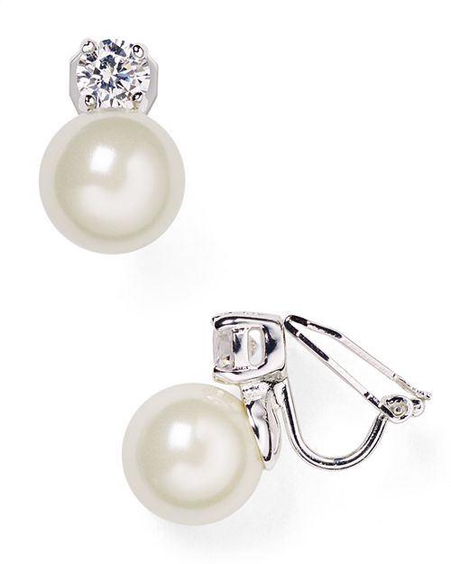 Ralph Lauren Faux Pearl Clip On Earrings