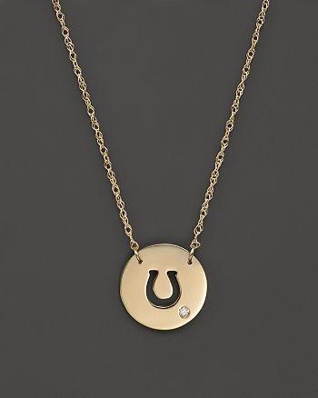 "Jane Basch - 14K Yellow Gold Cut Out Horseshoe Disc Pendant Necklace, 16"""