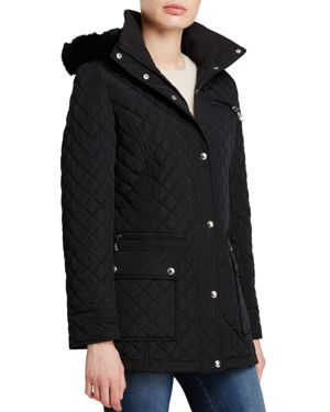 Calvin Klein Quilted Coat With Faux Fur Trim