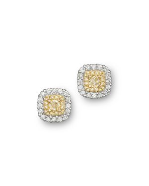 Yellow and White Diamond Stud Earrings in 18K White and Yellow Gold - 100% Exclusive